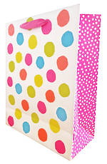 Large Gift Bag Fluro Dots On White