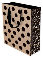 Large Gift Bag Kraft Black Dots