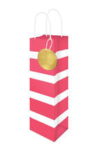 Bottle Gift Bag Lollypop Red White Stripe