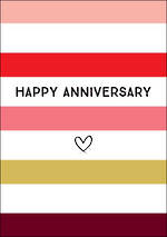 Anniversary Card Ink Pink Stripes