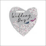 Wedding Card Feathers & Ferns Heart