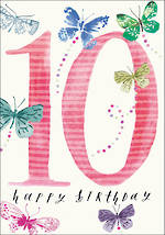 Birthday Age Card 10 Girl Butterflies