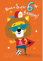 Birthday Age Card 6 Boy Super Lion