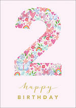 Birthday Age Card 2 Girl Floral Birthday