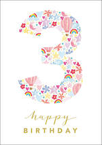 Birthday Age Card 3 Girl Floral Birthday