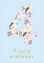 Birthday Age Card 4 Girl Underwater Fun