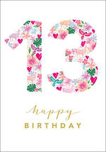 Birthday Age Card 13 Female Floral