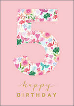 Birthday Age Card 5 Girl Floral Birthday