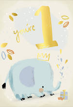 Birthday Age Card 1 Boy Elephant Crown