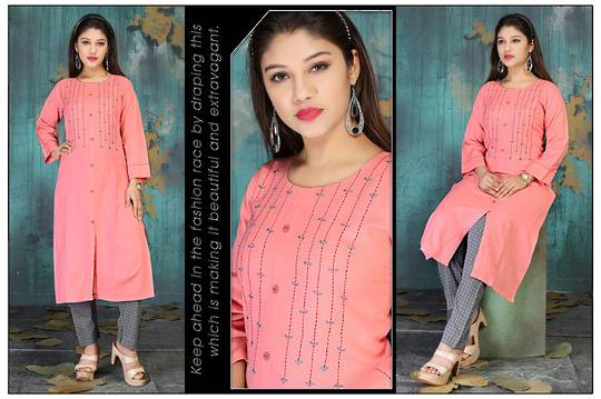 Peach Color Kurti with Chex Pant