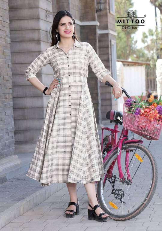 Rayon Print and Cotton Full Flair Midi/Kurti