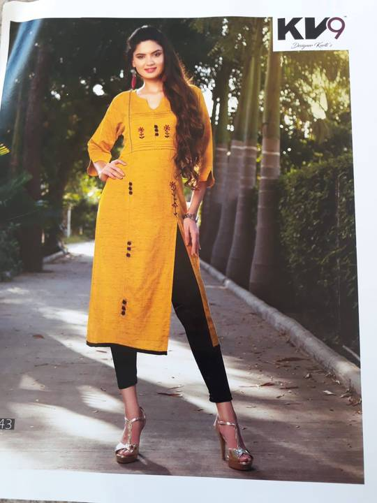 Ladies 3/4 Sleeve Rayon Kurti