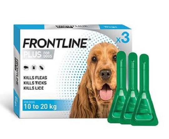Frontline Plus Spot-on Flea Treatment for Medium Dogs 10-20kg (Blue / 1.34ml x 3)
