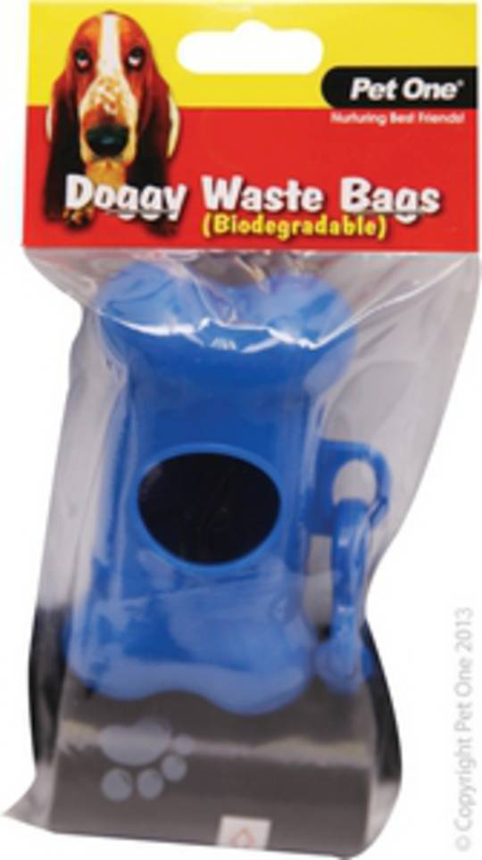 Pet One Doggy Waste Bags Dispenser & 20pack Refill (Biodegradable)