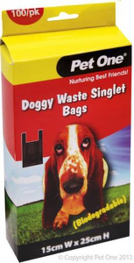 Pet One Doggy Waste Singlet Bags 100bags (Biodegradable)