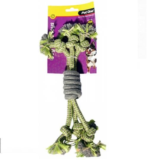 Dog Toy 3 Rope Spiral Grip Green/Grey 30cm