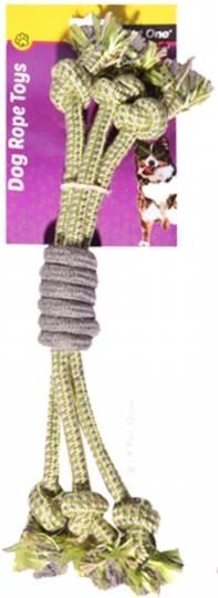Dog Toy 3 Rope Spiral Grip Green/Grey 40cm