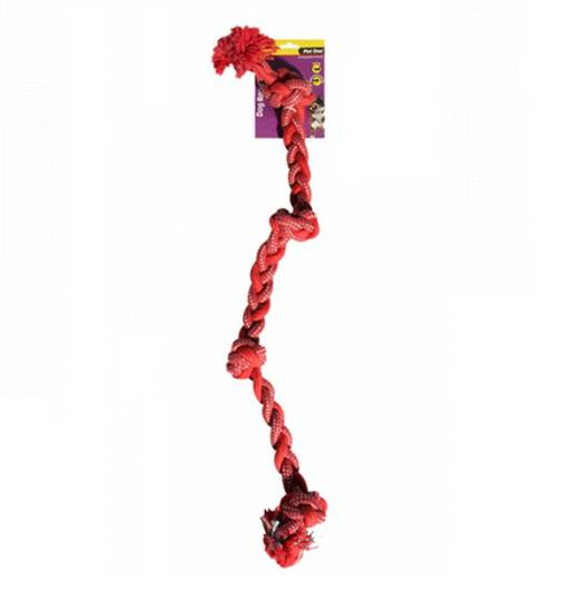 Dog Toy Braided Rope with 4 Knots Red/Blue 90cm