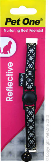 Pet One Collar for Cat & Kitten Reflective and Adjustable 10mm x 15-22.5cm Black