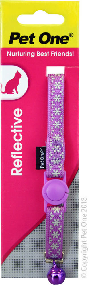 Pet One Collar for Cat & Kitten Reflective and Adjustable 10mm x 15-22.5cm Purple