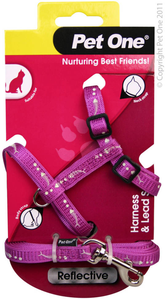 Pet One Harness & Lead Set for Cat & Kitten Reflective and Adjustable 10mm x 15-22.5cm Purple