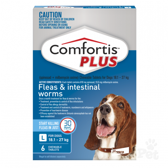 Comfortis Plus Chewable Flea & Worm Treatment for Large Dogs (Blue 3 chewable)