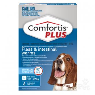 Comfortis Plus Chewable Flea & Worm Treatment for Large Dogs (Blue 3 chewable)