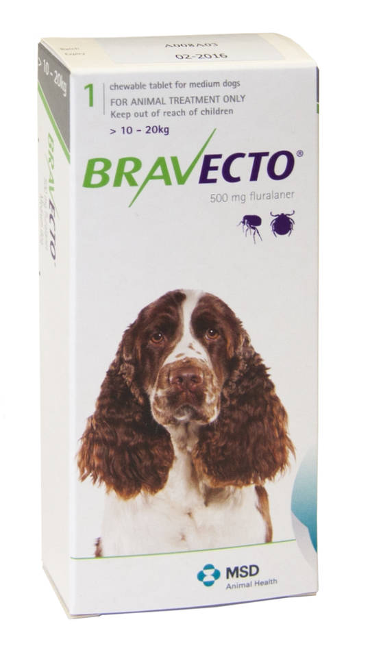 Bravecto  Chewable Flea & Tick  Treatment for Medium Dogs (Green 10 - 20kg)