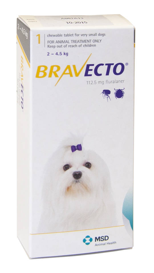 Bravecto  Chewable Flea & Tick Treatment for Xsmall Dogs (Yellow 2 - 4.5kg)
