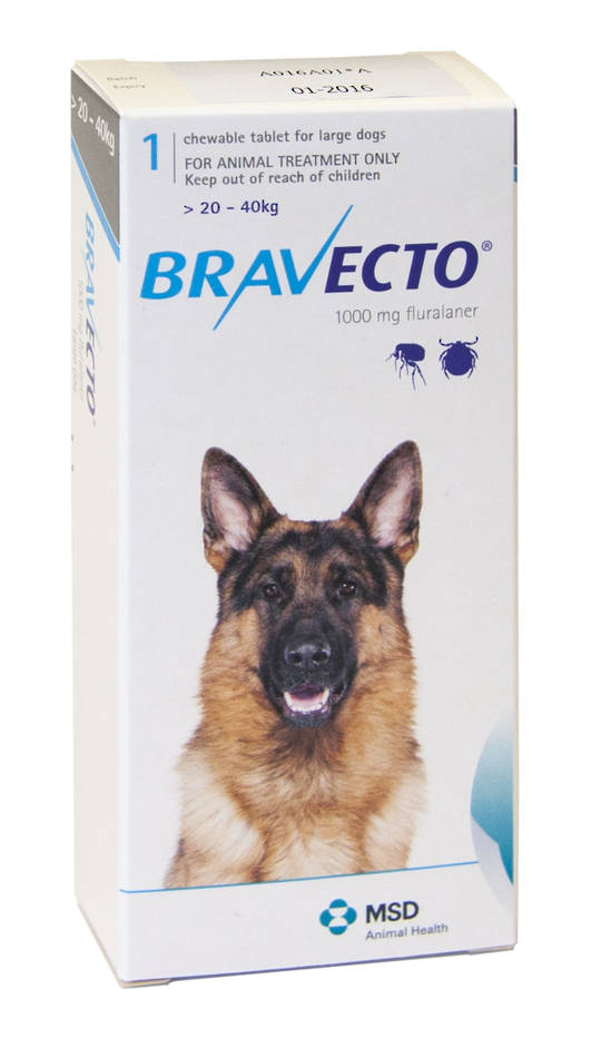 Bravecto  Chewable Flea & Tick Treatment for Large Dogs (Blue 20 - 40kg)