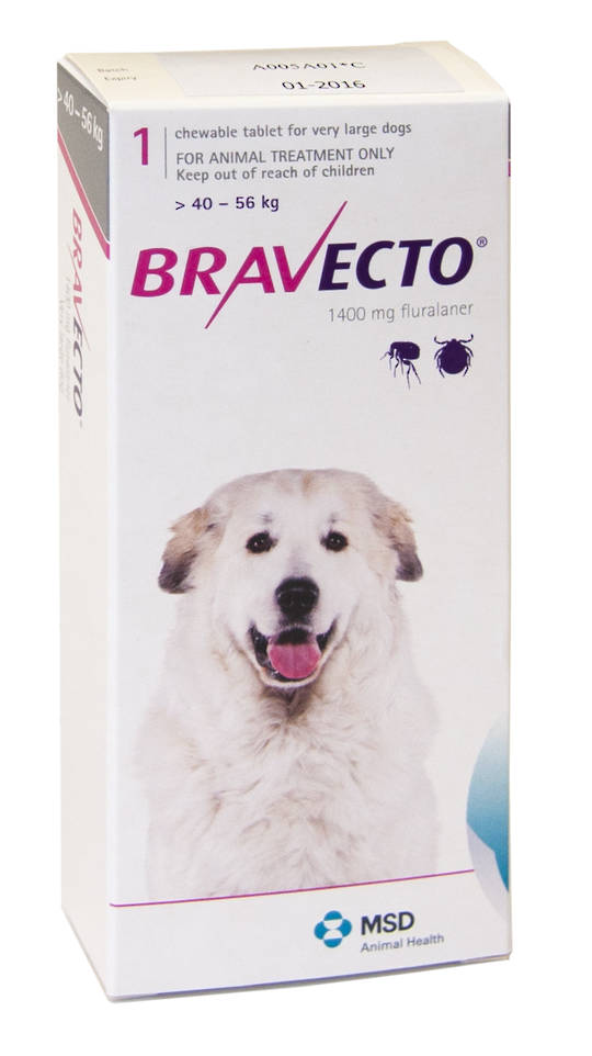 Bravecto Chewable Flea & Tick Treatment for Very Large Dogs (Pink 40 - 56kg)