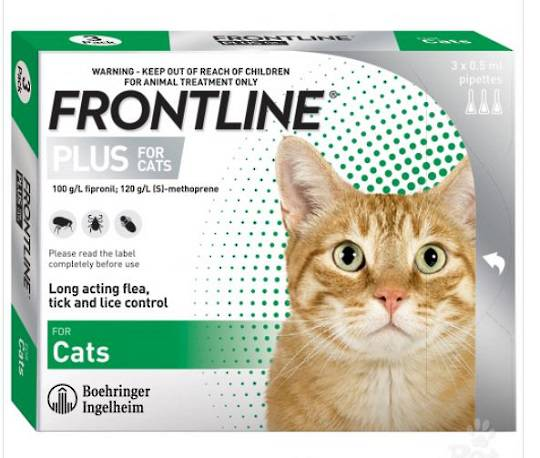 Frontline Plus Spot-on Flea Treatment for Cats and Kittens from 8 weeks (0.5ml x 3)