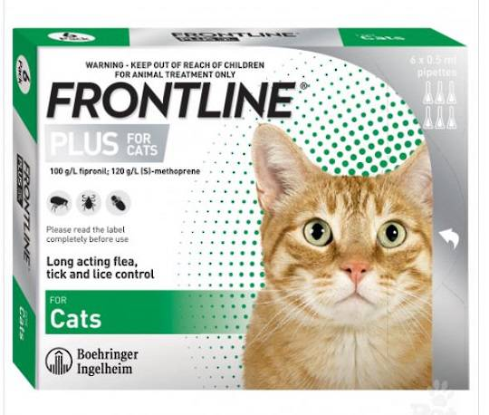 Frontline Plus Spot-on Flea Treatment for Cats and Kittens from 8 weeks (0.5ml x 6)
