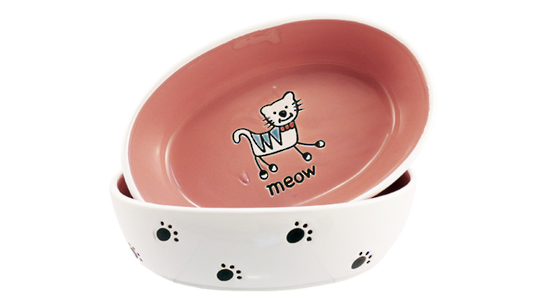 Silly Kitty Bowl Oval - Pink 17cm