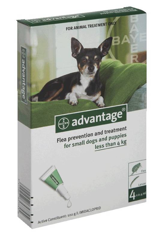 Advantage Spot-on Flea Treatment for Dogs and Puppies  less than 4kg (Green / 4 pippets)