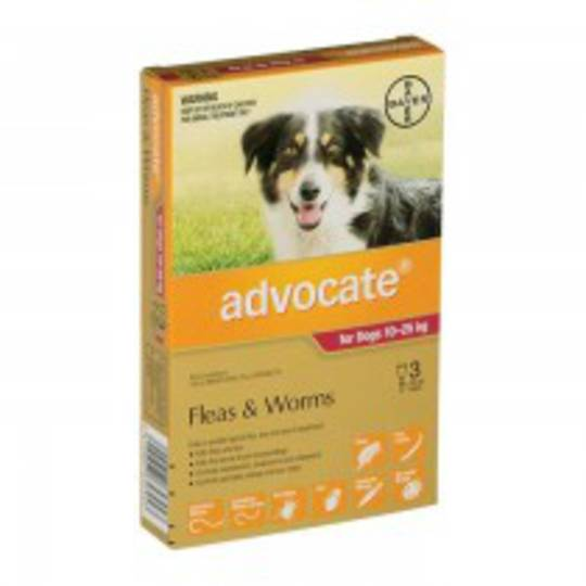 Advocate Spot-on Flea and Worm Treatment for Large Dogs 10-25kg (Maroon / 3 pippets)