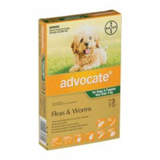 Advocate Spot-on Flea and Worm Treatment for Small Dogs and Puppies up to 4kg (Green / 3 pippets)