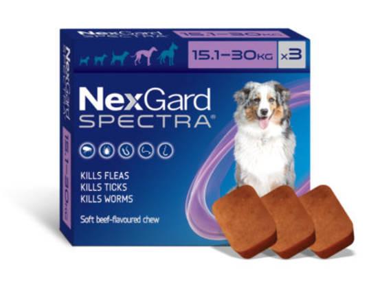 NexGard Chewable Flea & Worm Treatment for Large Dogs 15.1-30kg (Purple / 3 chewable)