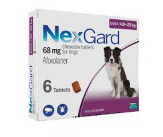 NexGard Chewable Flea Treatment for Medium Dogs 10-25kg (Purple / 3 chewable)