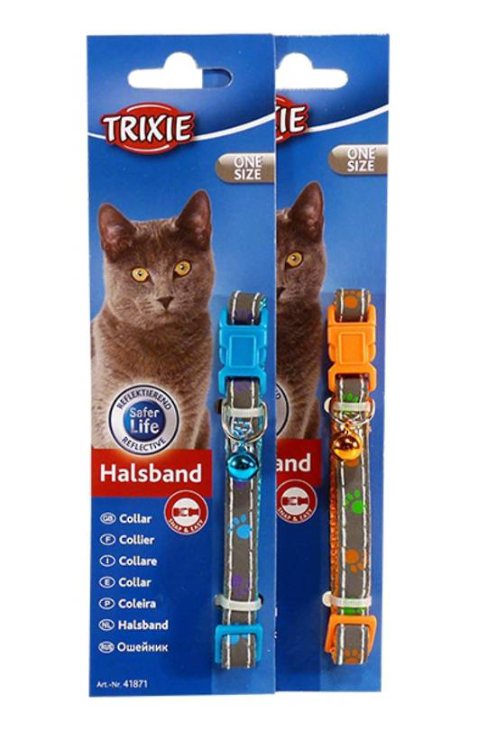 Trixie Cat Collar - Nylon Paws (Orange or Blue)