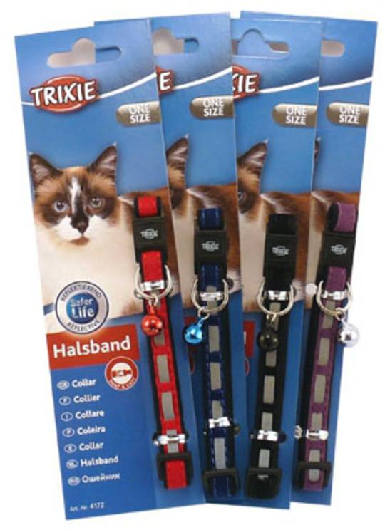 Trixie Cat Collar - Reflective Velvet (Red, Blue, Black or Purple)