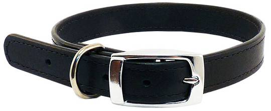 Leather Stitched Collar Black (25mm x 55cm)