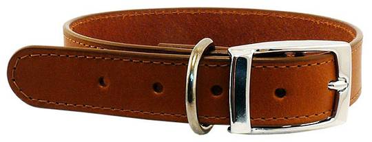 Leather Stitched Collar Cognac (25mm x 55cm)