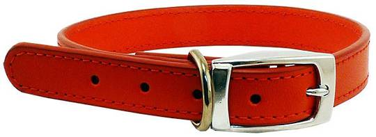 Leather Stitched Collar Red (25mm x 55cm)