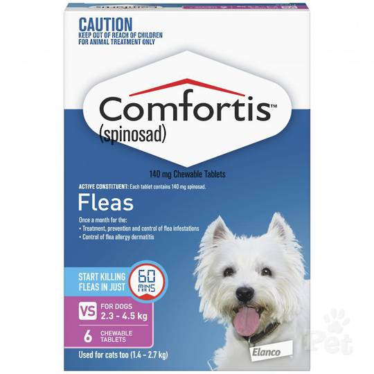 Comfortis Chewable Flea Treatment for Kittens, Small Cats, Puppy and very Small Dogs (Pink / 6 chewables)