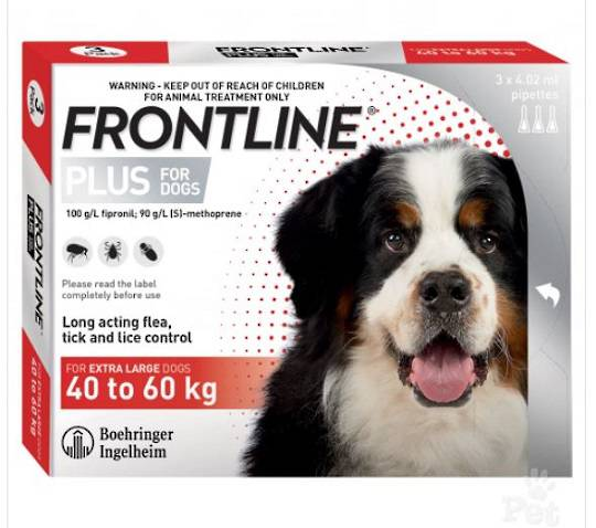 Frontline Plus Spot-on Flea Treatment for Extra Large Dogs 40-60kg (Red / 4.02ml x 3)
