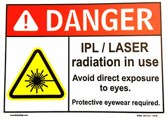 Warning radiation door sign