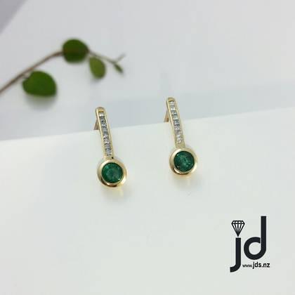 Emerald & Diamond Huggies