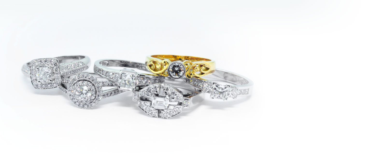 Jewel diamond engagement wedding rings
