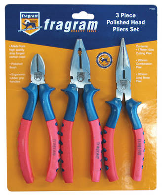POLISHED HEAD PLIER SET 3PCE